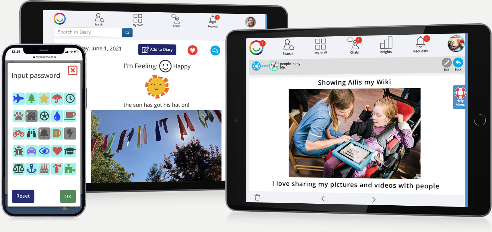 Multi Me screens showing picture and video sharing