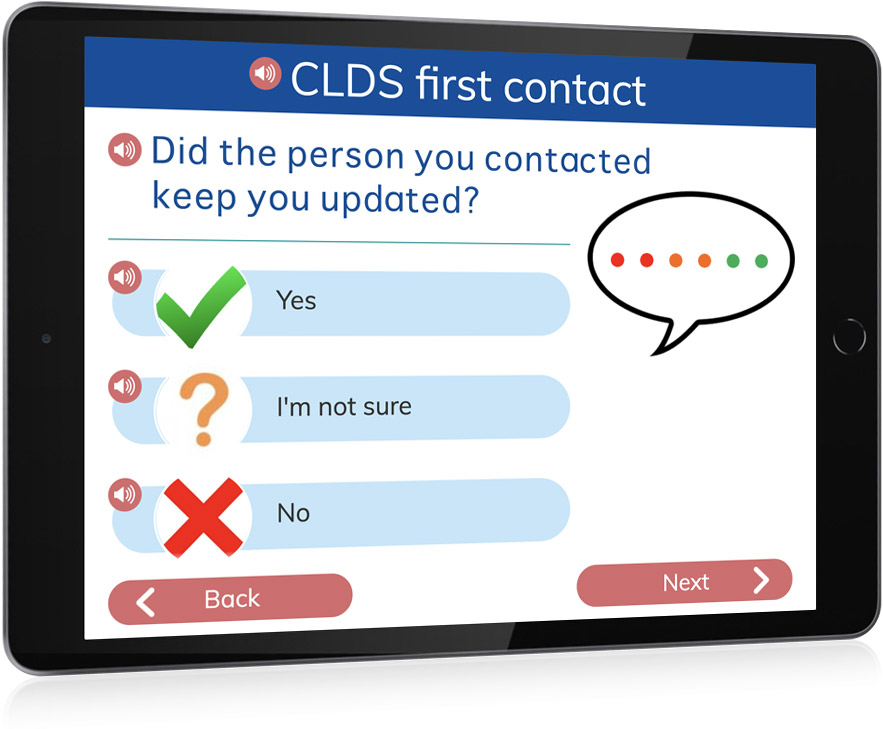Easy Survey CLDS first contact screen